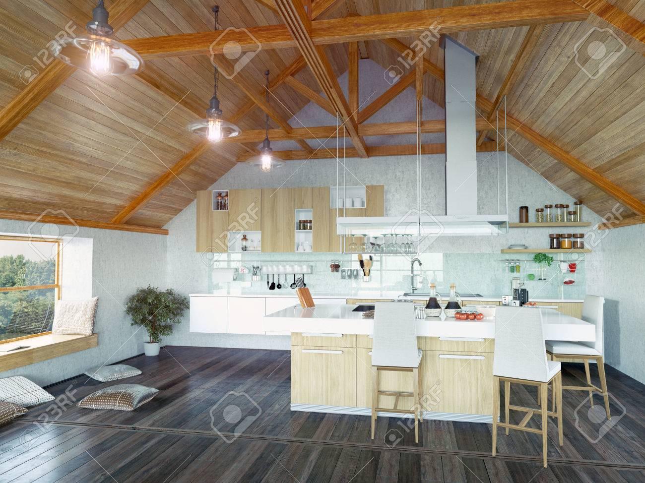 Moderne Küche Interieur Mit Insel Auf Dem Dachboden (3d Design Konzept)  Standard