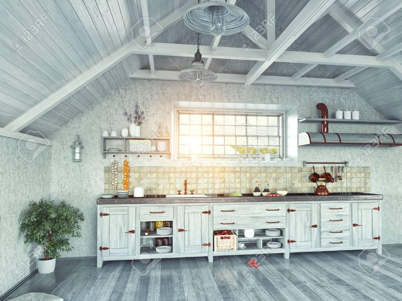 Interior Moderno Cocina Con Isla En El ático (concepto De Diseño 3d ...