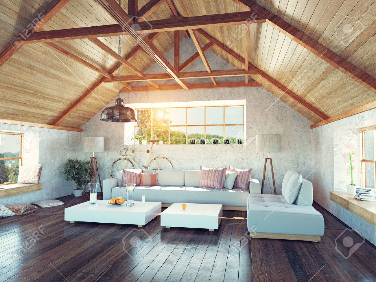 beautiful modern attic interior. 3d design concept. Stock Photo - 35926570 & Beautiful Modern Attic Interior. 3d Design Concept. Stock Photo ...