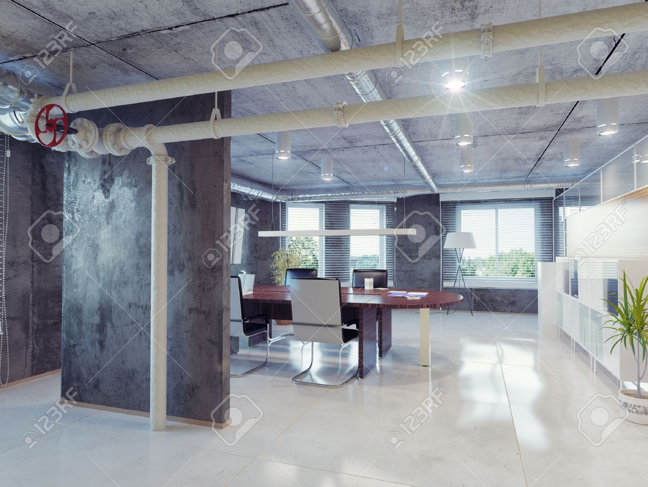 modern loft office interior. 3d design concept stock photo