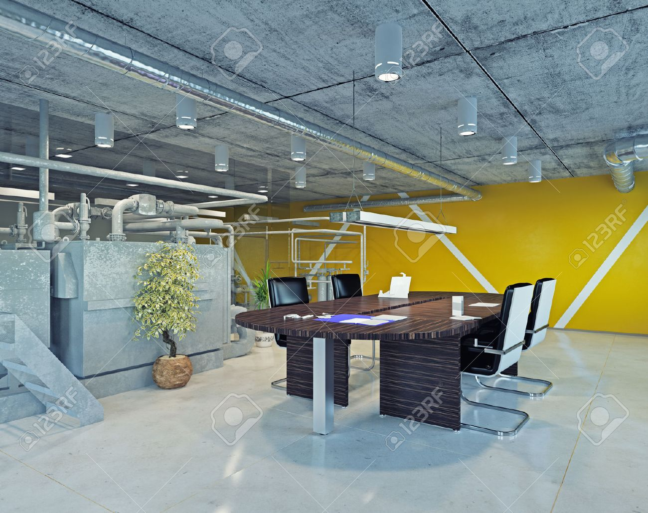 Modern Loft Office Interior 3d Design Concept Stock Photo