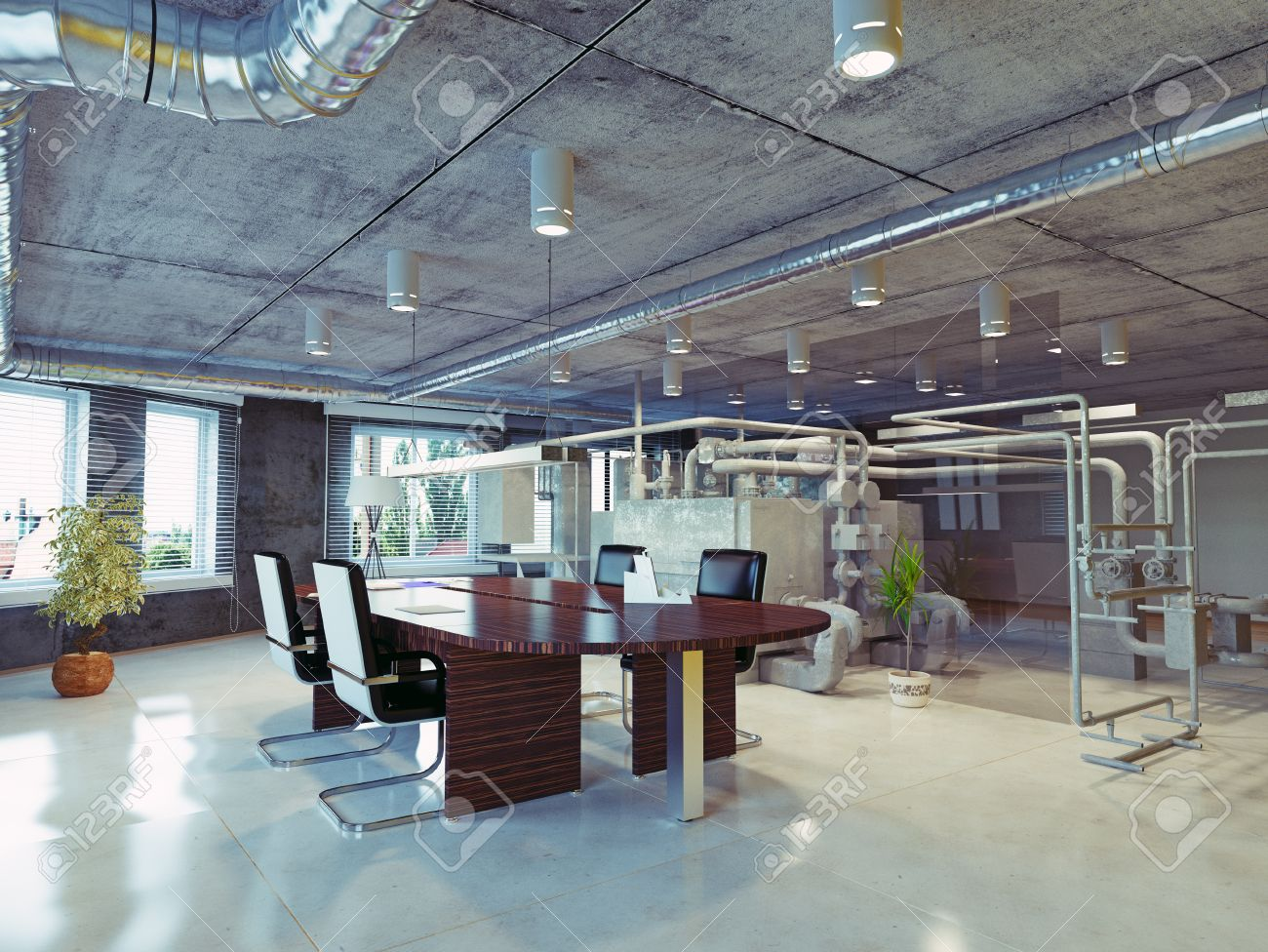 free office space. Modern Loft Office Interior. 3d Design Concept Free Space E