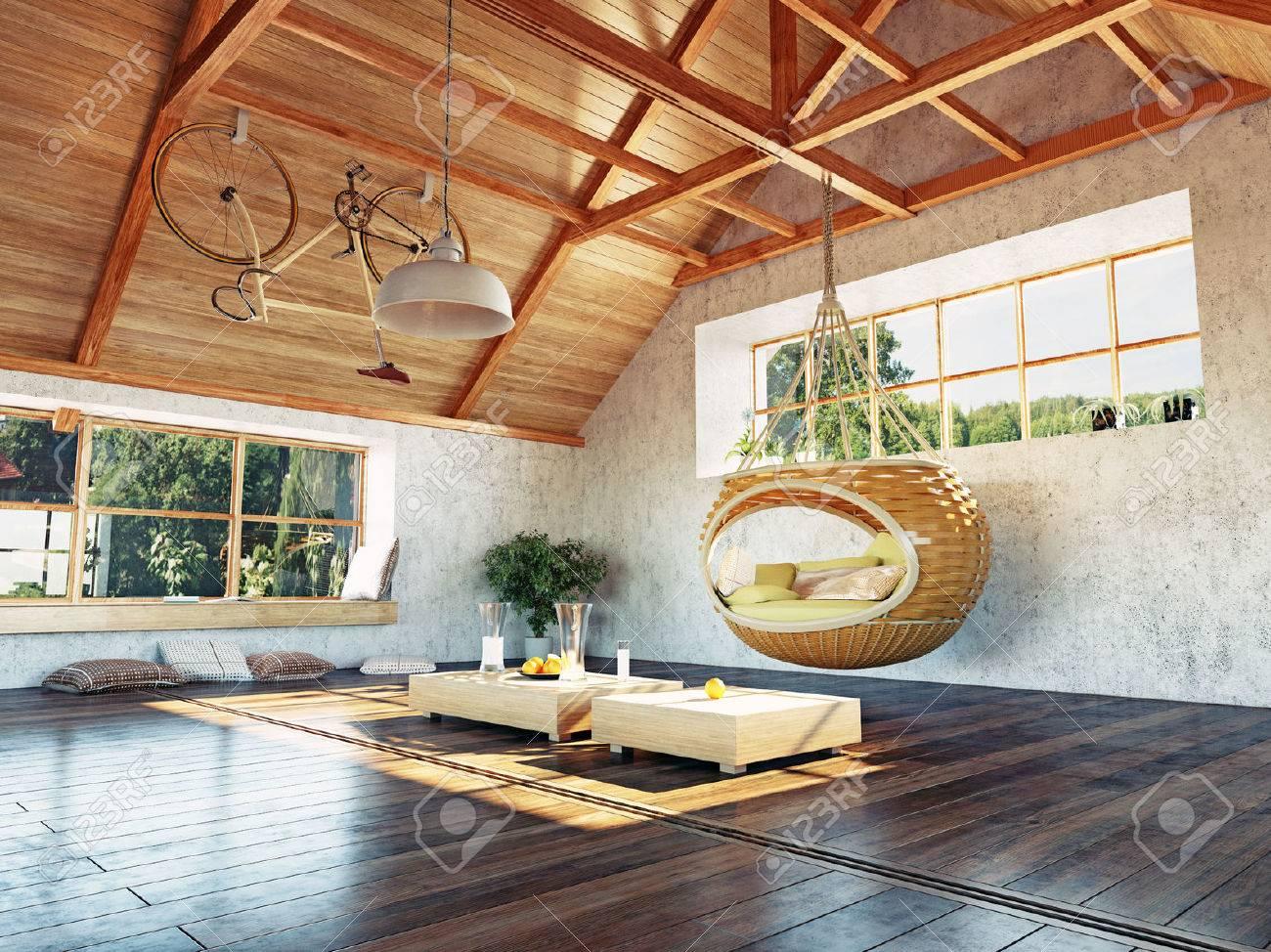 Schöne Moderne Dachboden Innenraum Mit Hängenden Sofa. 3D-Design ...