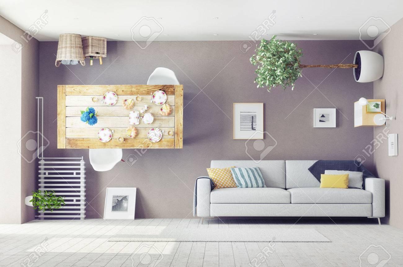 strange living room interior. 3d design concept - 43295084
