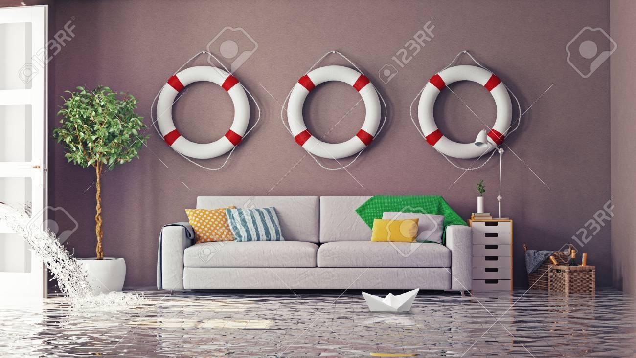 flooding in interior. 3d creative concept - 43295080