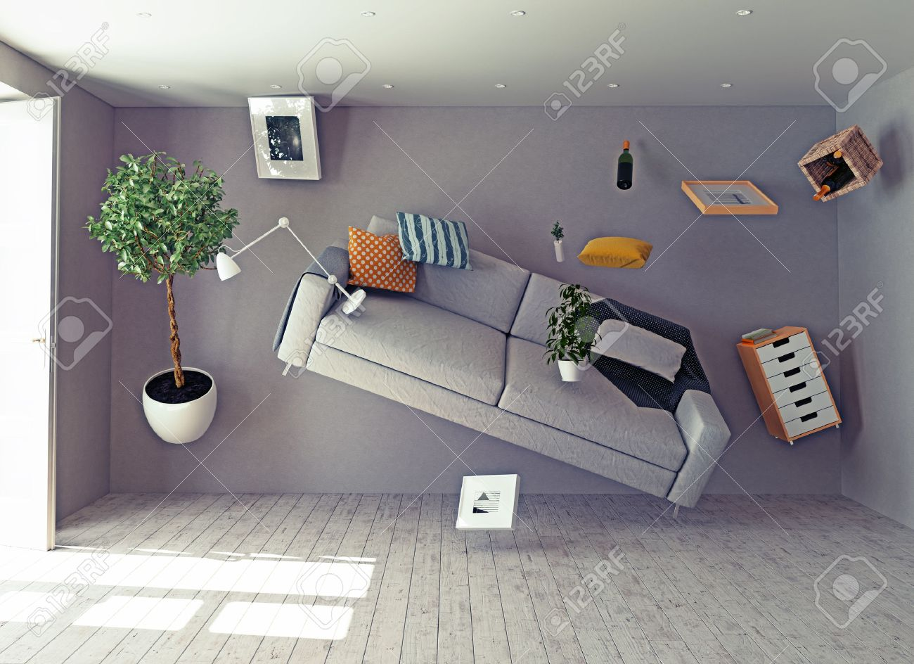zero-gravity interior. 3d creative concept Stock Photo - 43295097