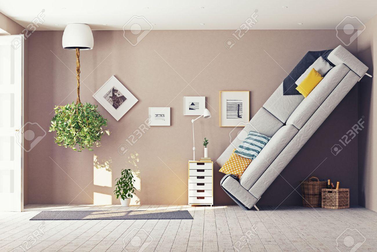 strange living room  interior. 3d design concept Standard-Bild - 43295104