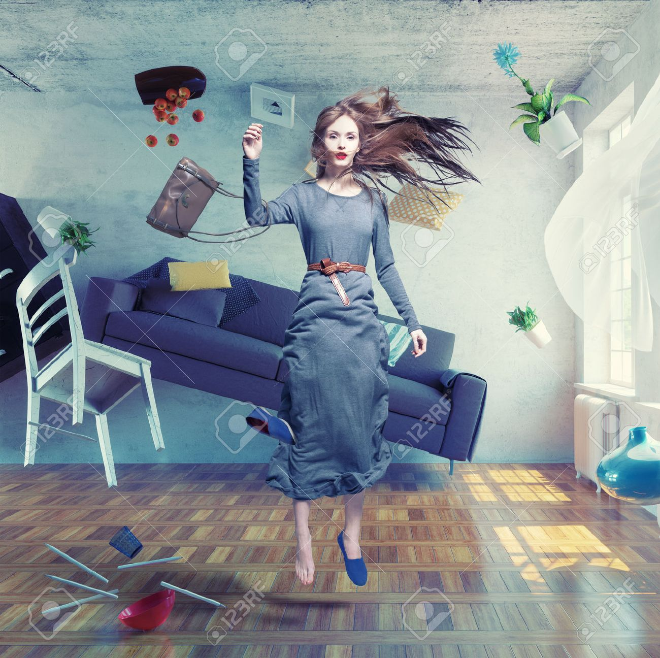 young beautiful lady fly in zero gravity room. Photo combination creative concept Standard-Bild - 43295105