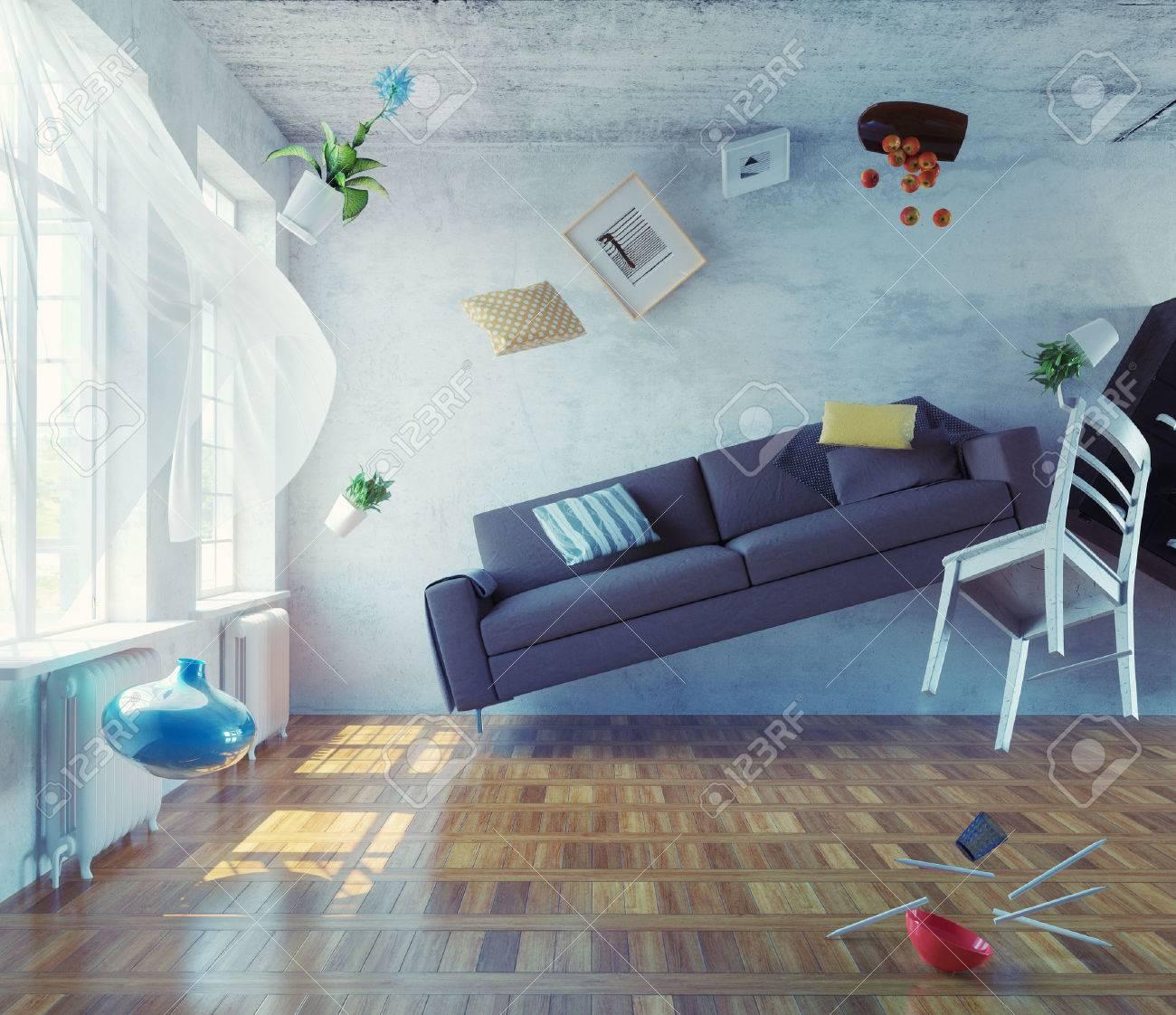 zero-gravity interior. 3d creative concept Standard-Bild - 43295114