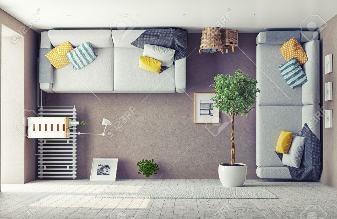 Strange Living Room Interior 3d Design Concept Stock Photo