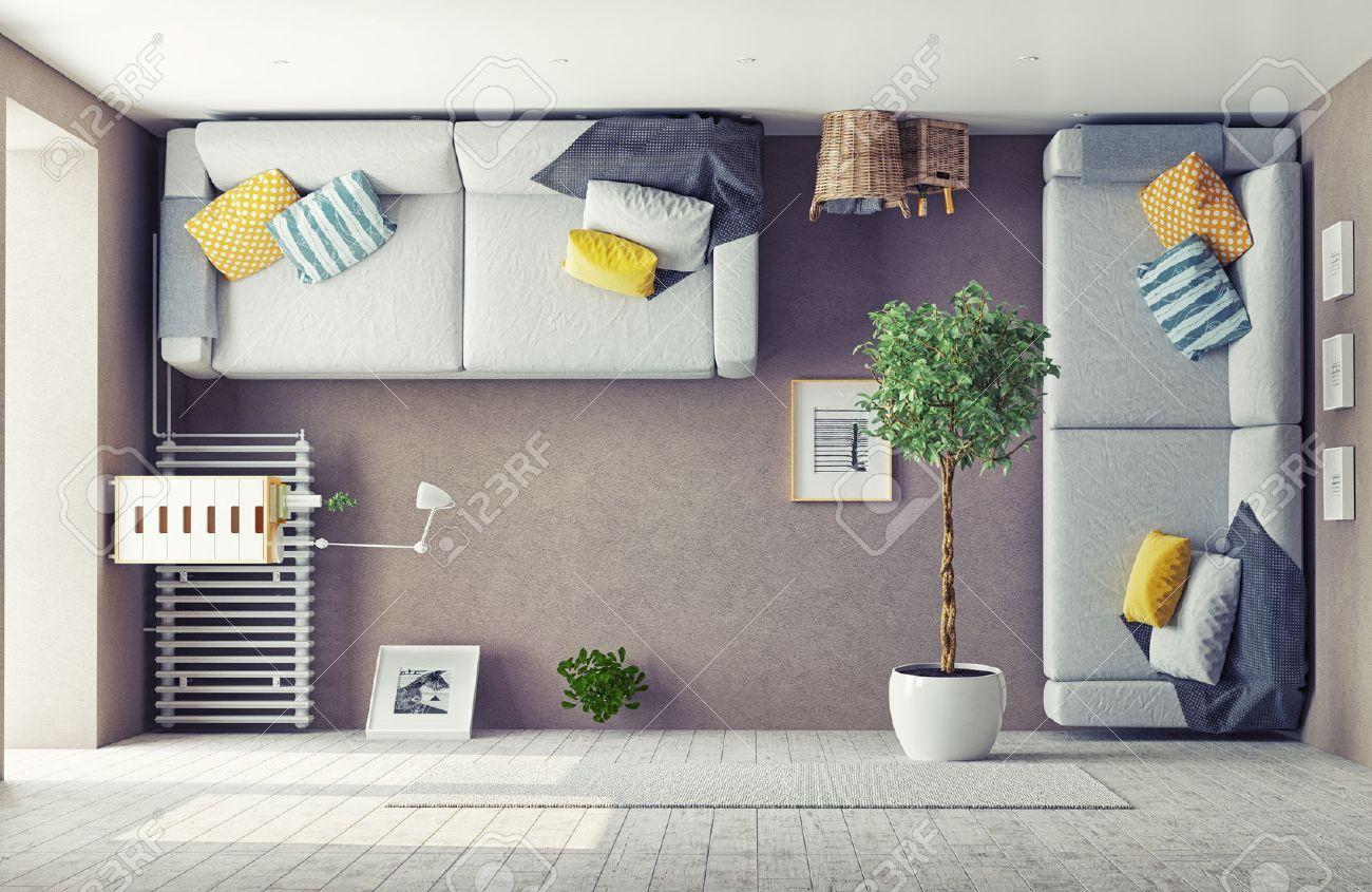 strange living room  interior. 3d design concept Stock Photo - 43295116
