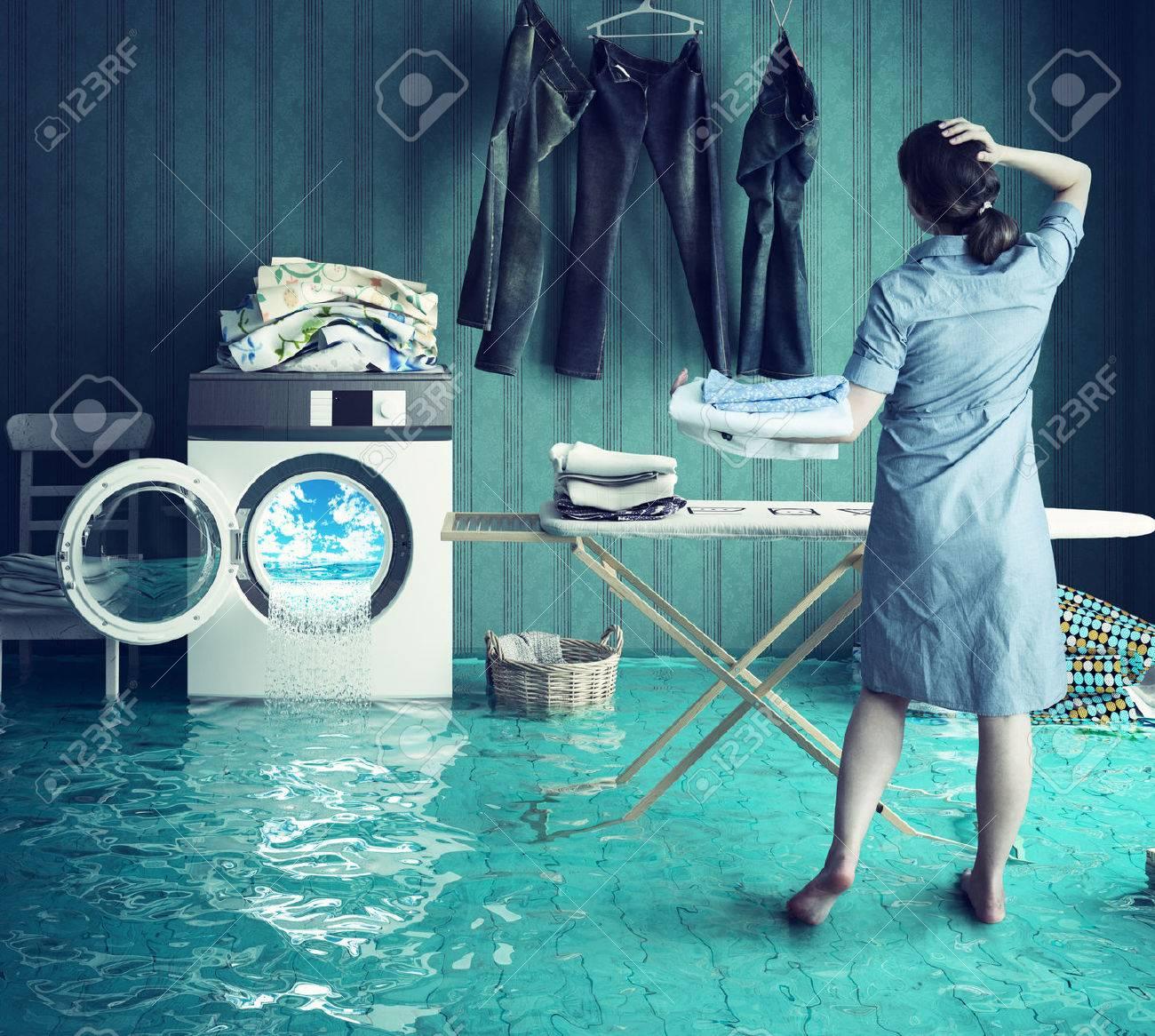 Housewife`s dreams. Creative concept. Photo combination Standard-Bild - 44925999