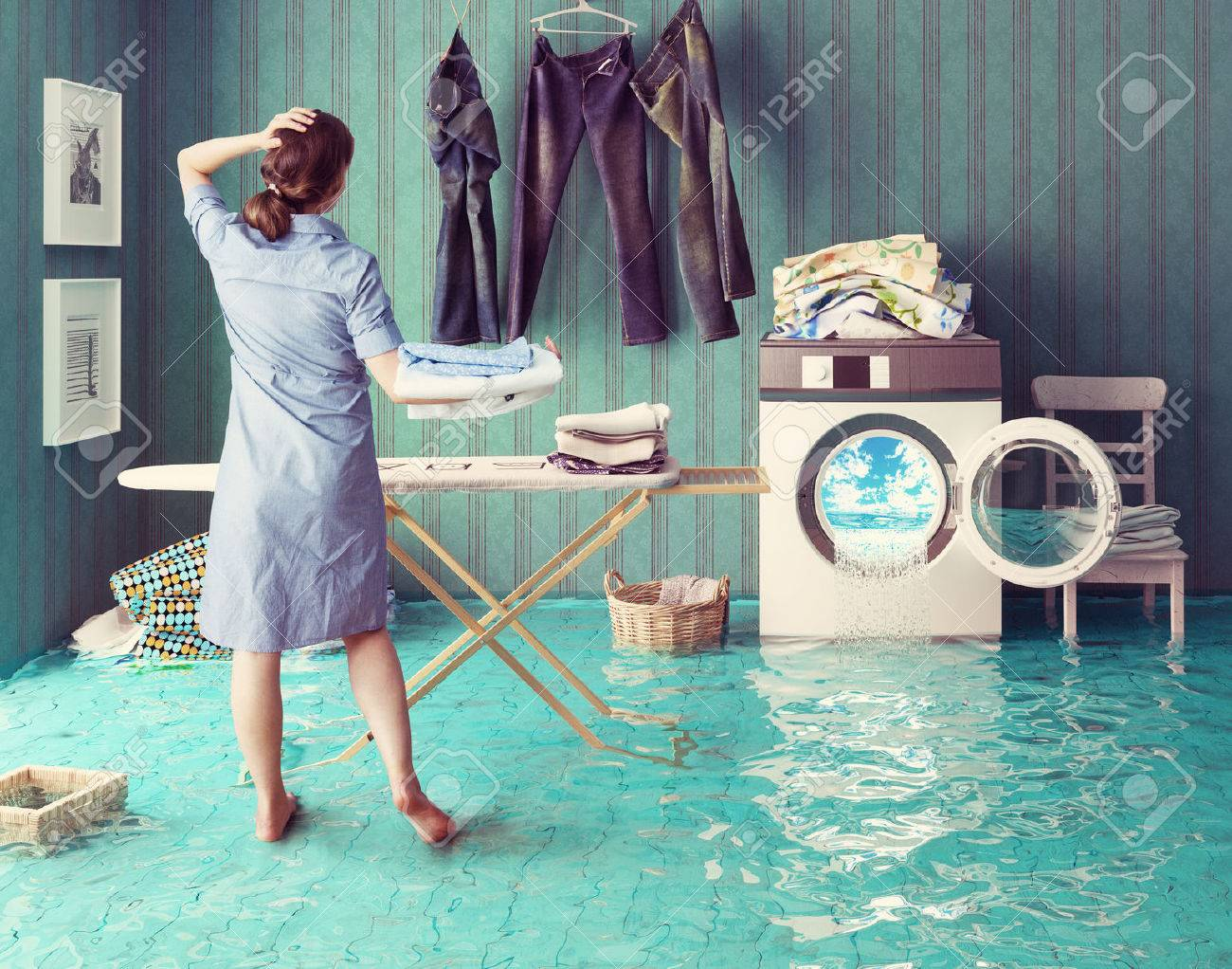Housewife dreams. Creative concept. Photo combination Standard-Bild - 44926005