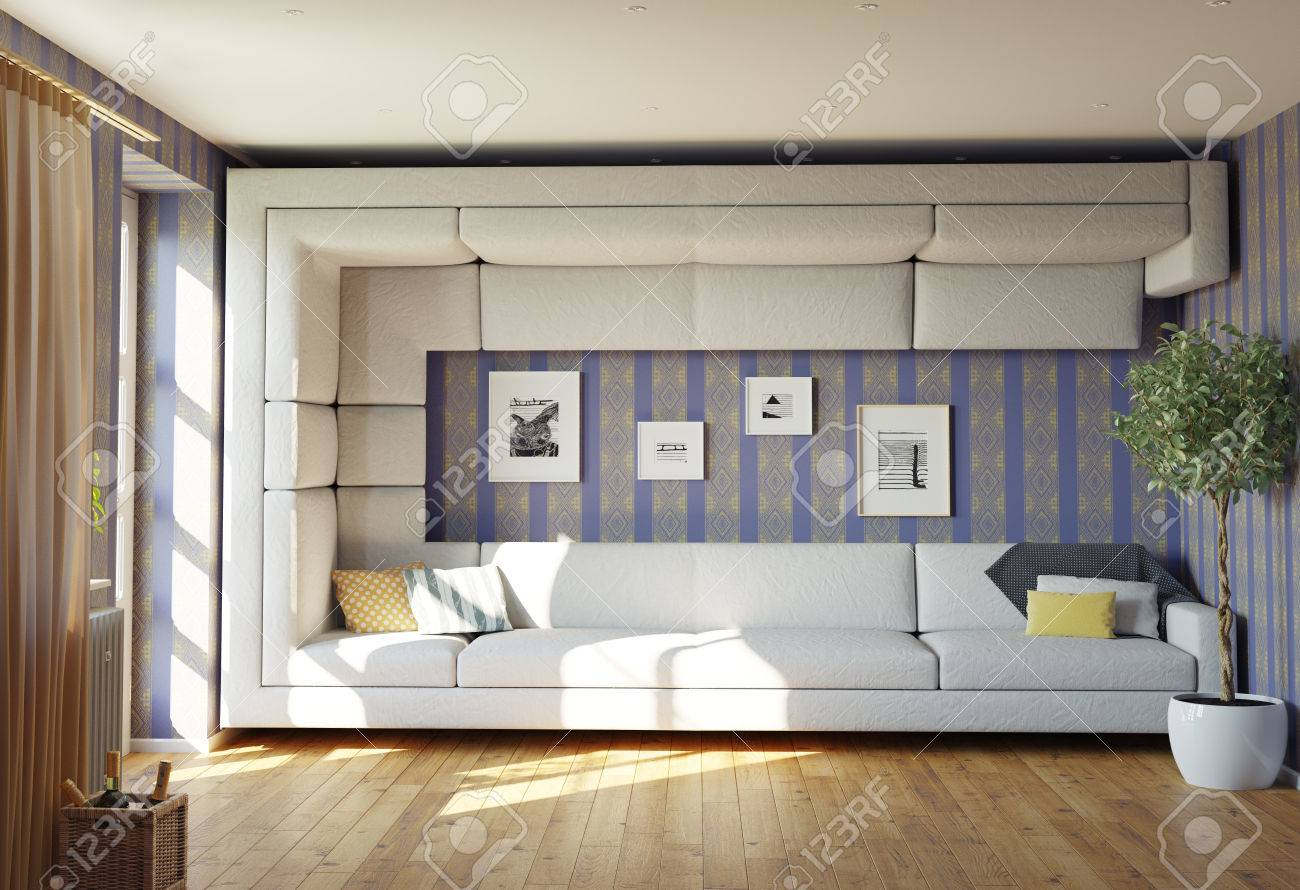 Super bank concept. woonkamer interieur. 3d ontwerp idee royalty ...
