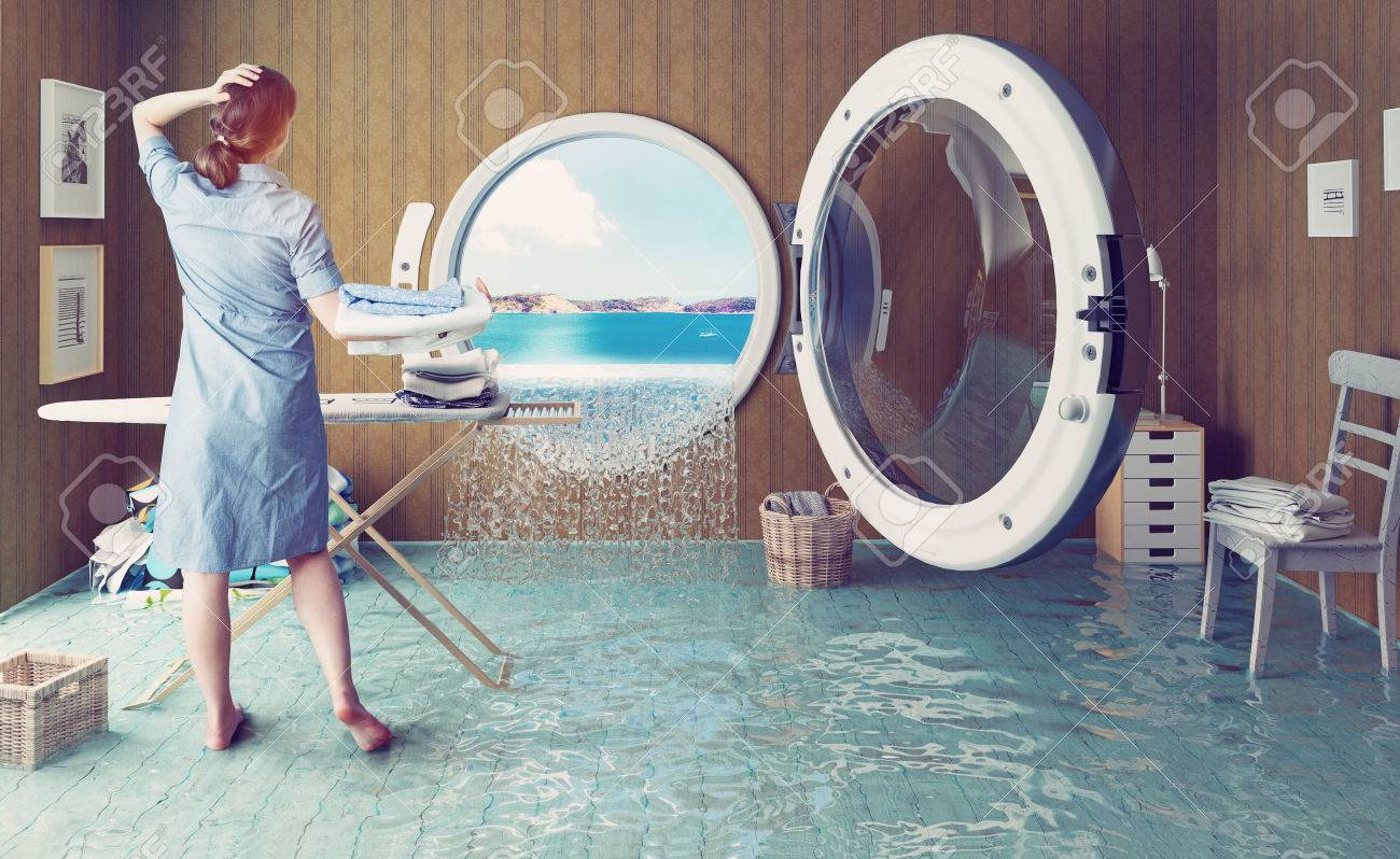 Housewife dreams. Creative concept. Photo combination Standard-Bild - 44926042