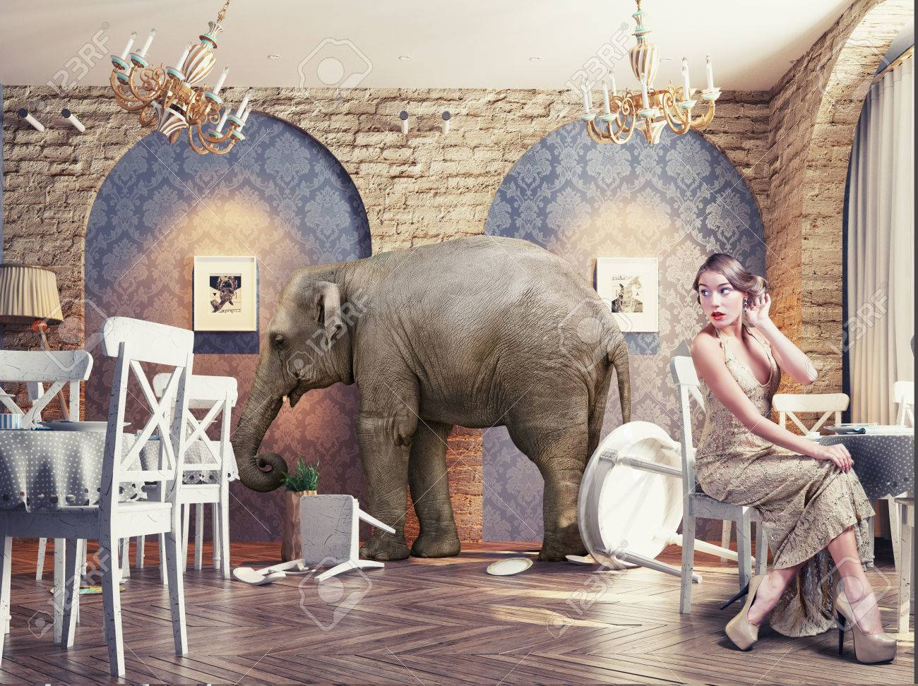 an elephant calm in a restaurant interior. photo combination concept Standard-Bild - 47971995