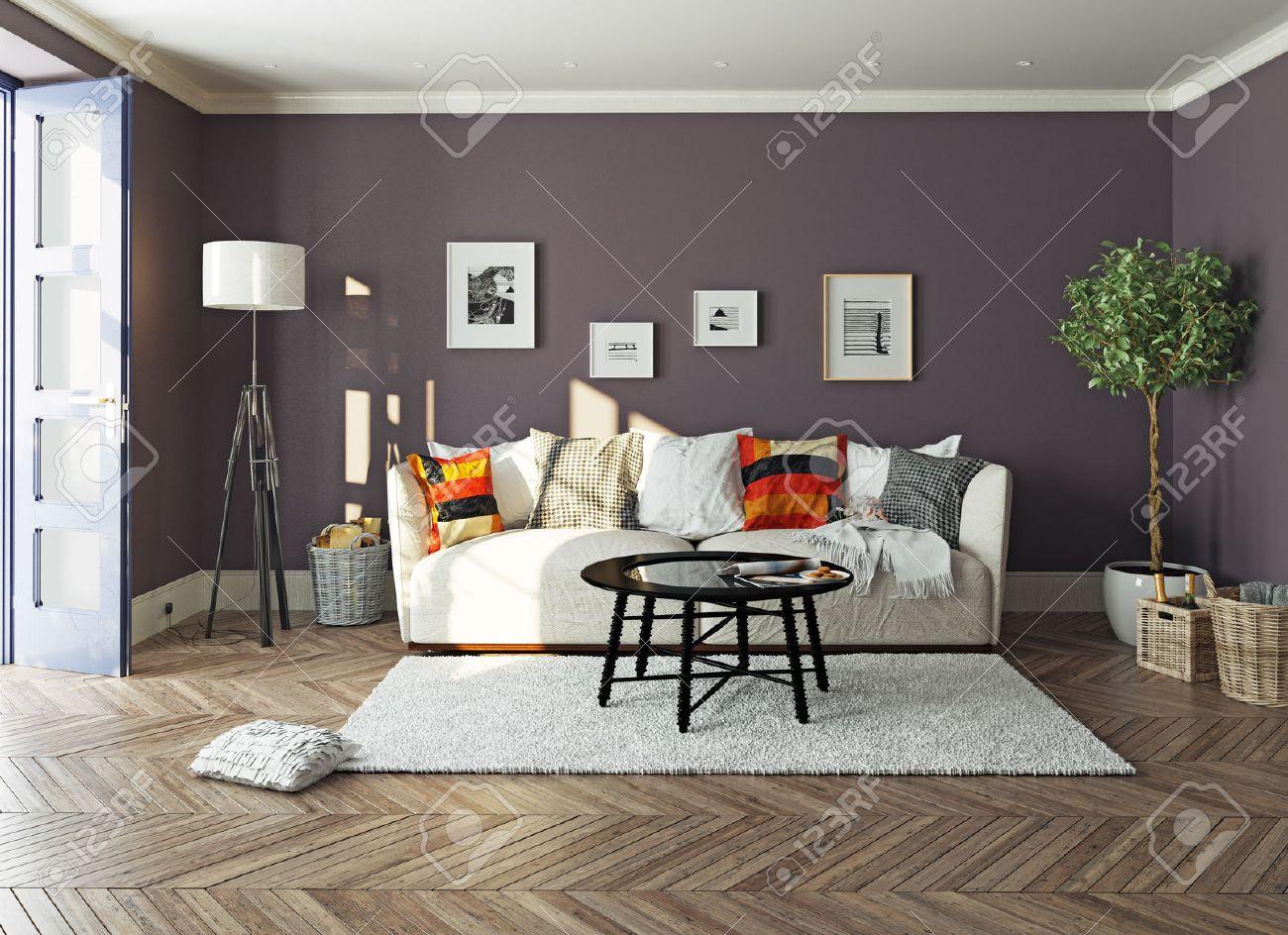 modern living room  interior.3d design concept Standard-Bild - 48937823