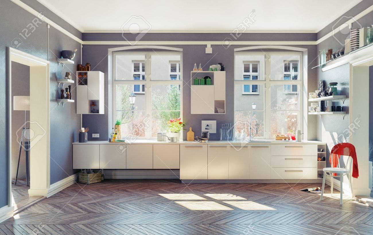 the modern kitchen interior. 3d render concept Standard-Bild - 48937833
