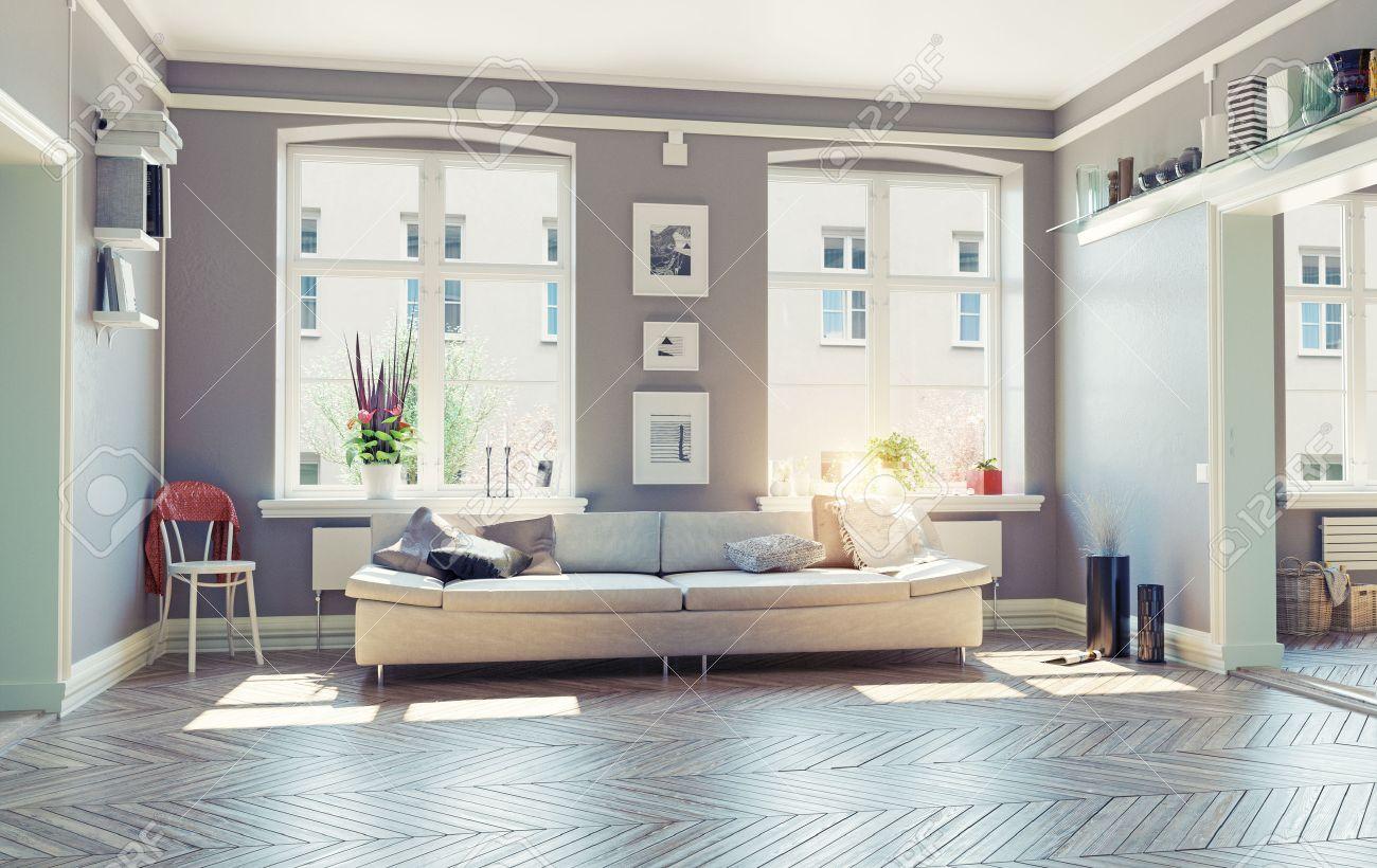 La Sala De Estar Concepto De Diseño Moderno Interior.3d Fotos ...
