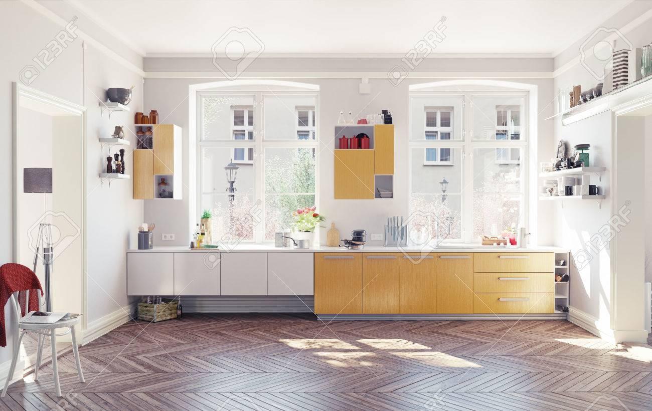 Die Moderne Küche Interieur. 3D Render-Konzept Lizenzfreie Fotos ...