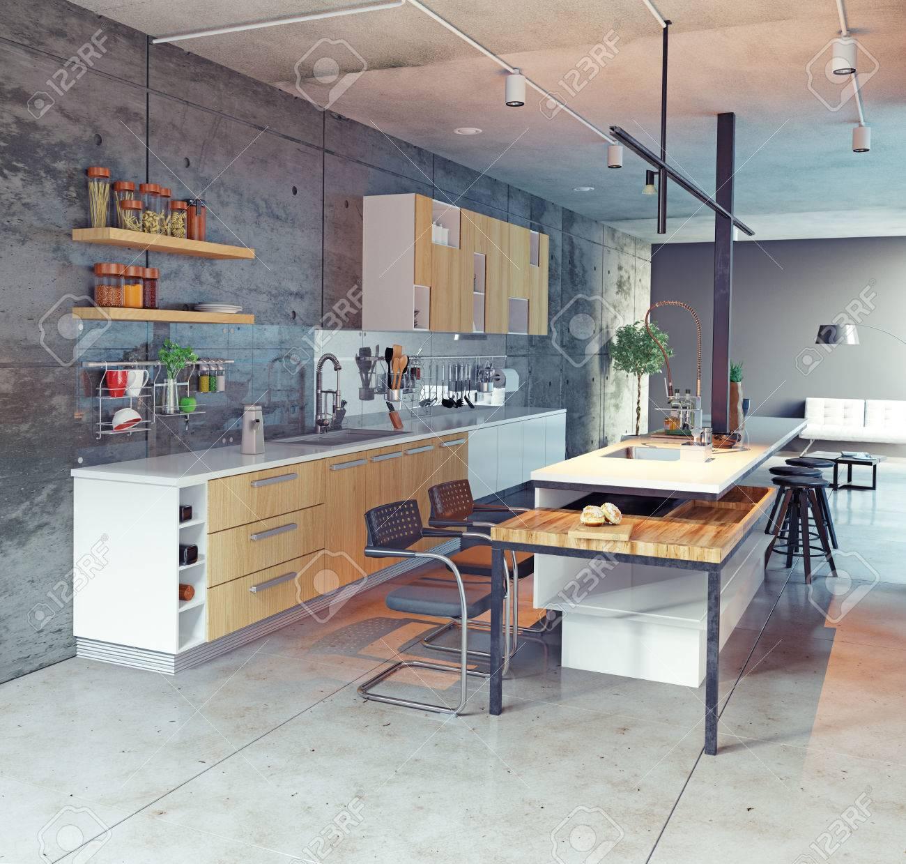 Cocina Moderna Del Diseño Interior. Concepto 3d Fotos, Retratos ...