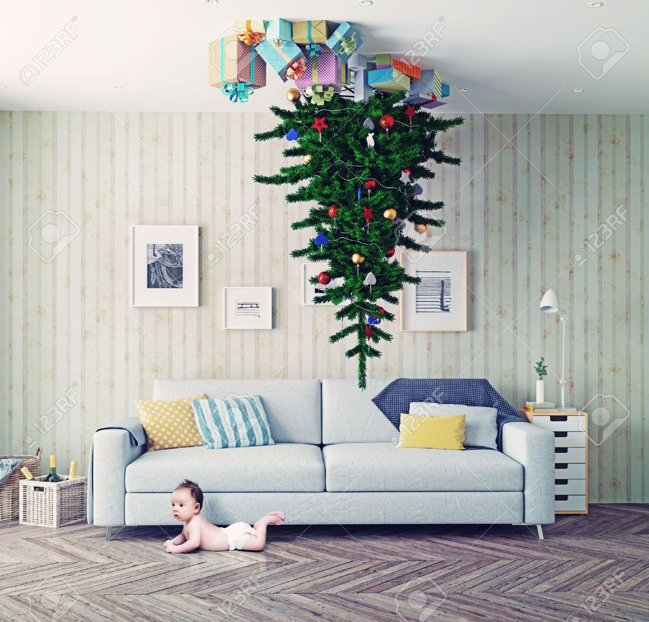 Room With A Christmas Tree On The Ceiling And Surprised Baby ...