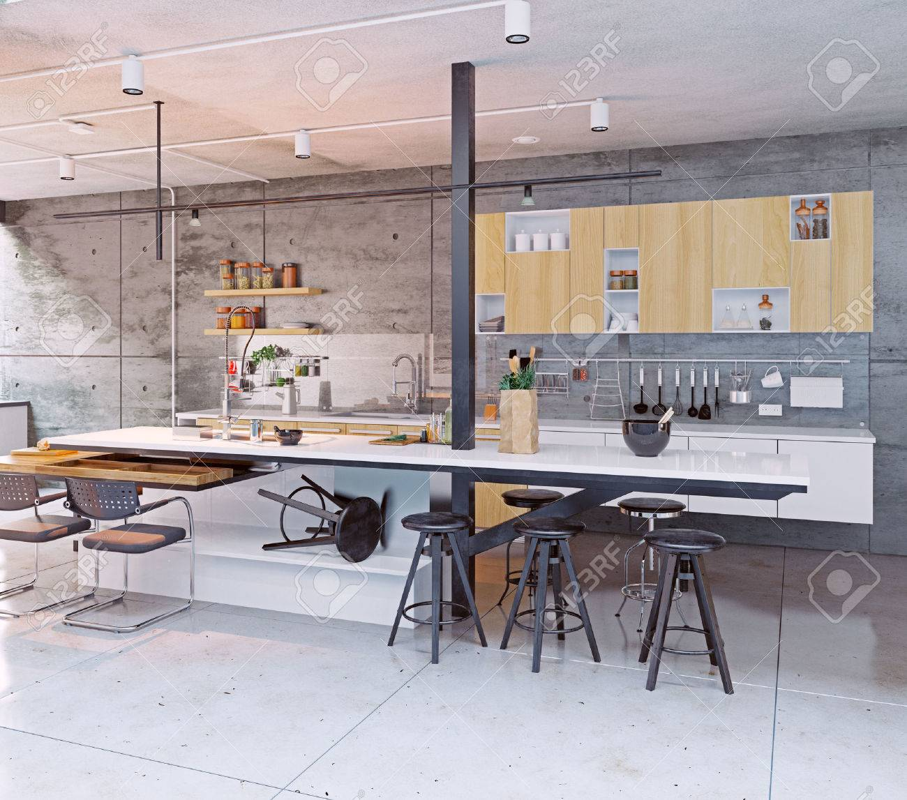 Design d\'intérieur de cuisine contemporaine. Concept 3D