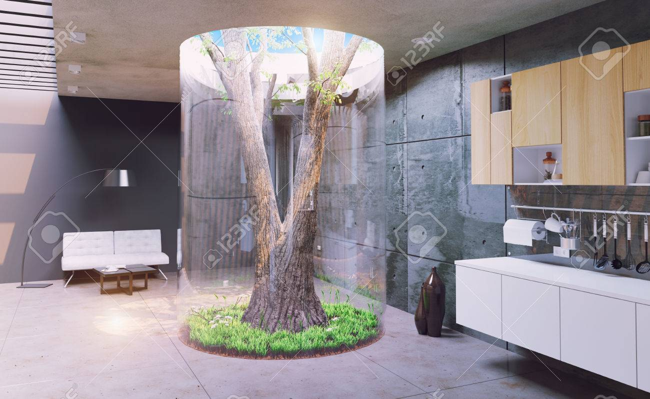 Eco Design Of The Modern Interior. Real Tree Indoor. 3d Concept Stock Photo