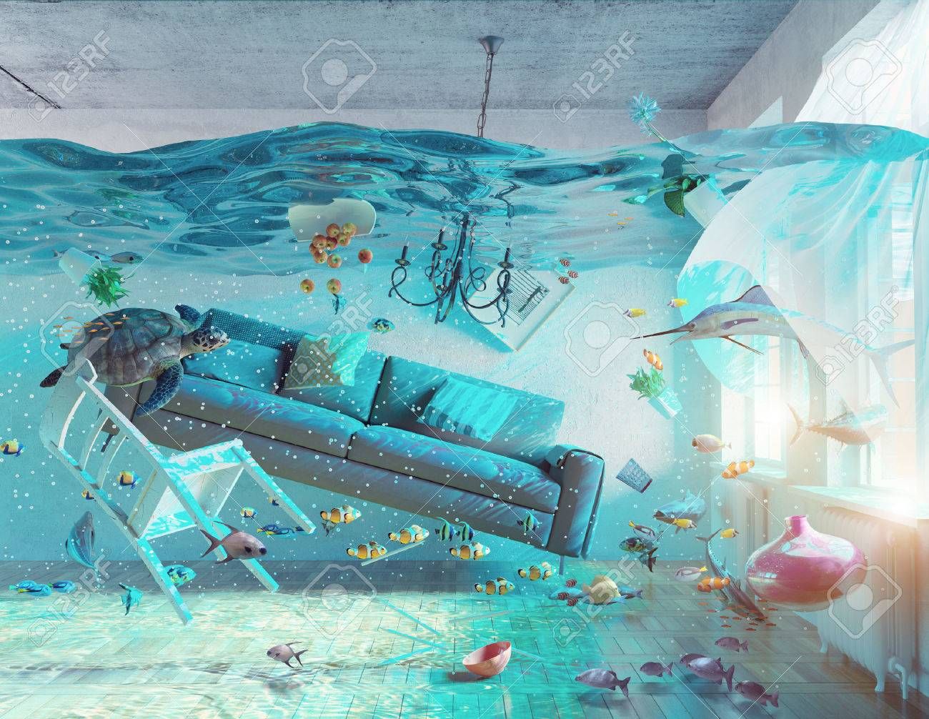 4acf4a07e8 Foto de archivo - Una visión bajo el agua en el interior inundaciones.  concepto 3d