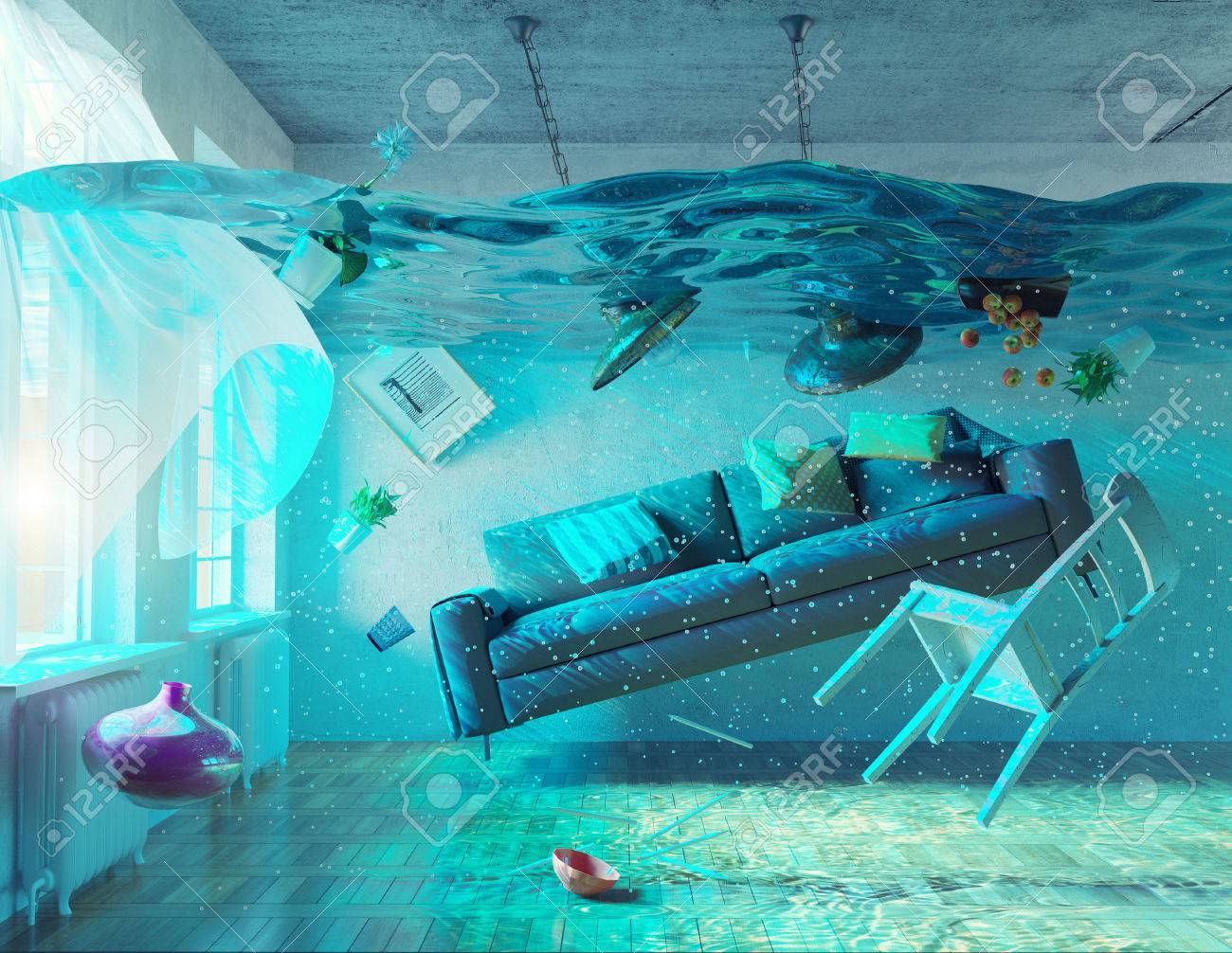 an underwater view in the flooding interior. 3d concept - 51586299
