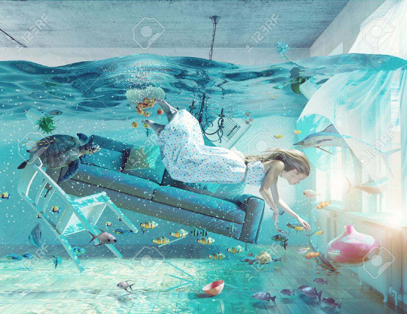 an underwater view in the flooding interior and young woman . 3d concept Standard-Bild - 51586288