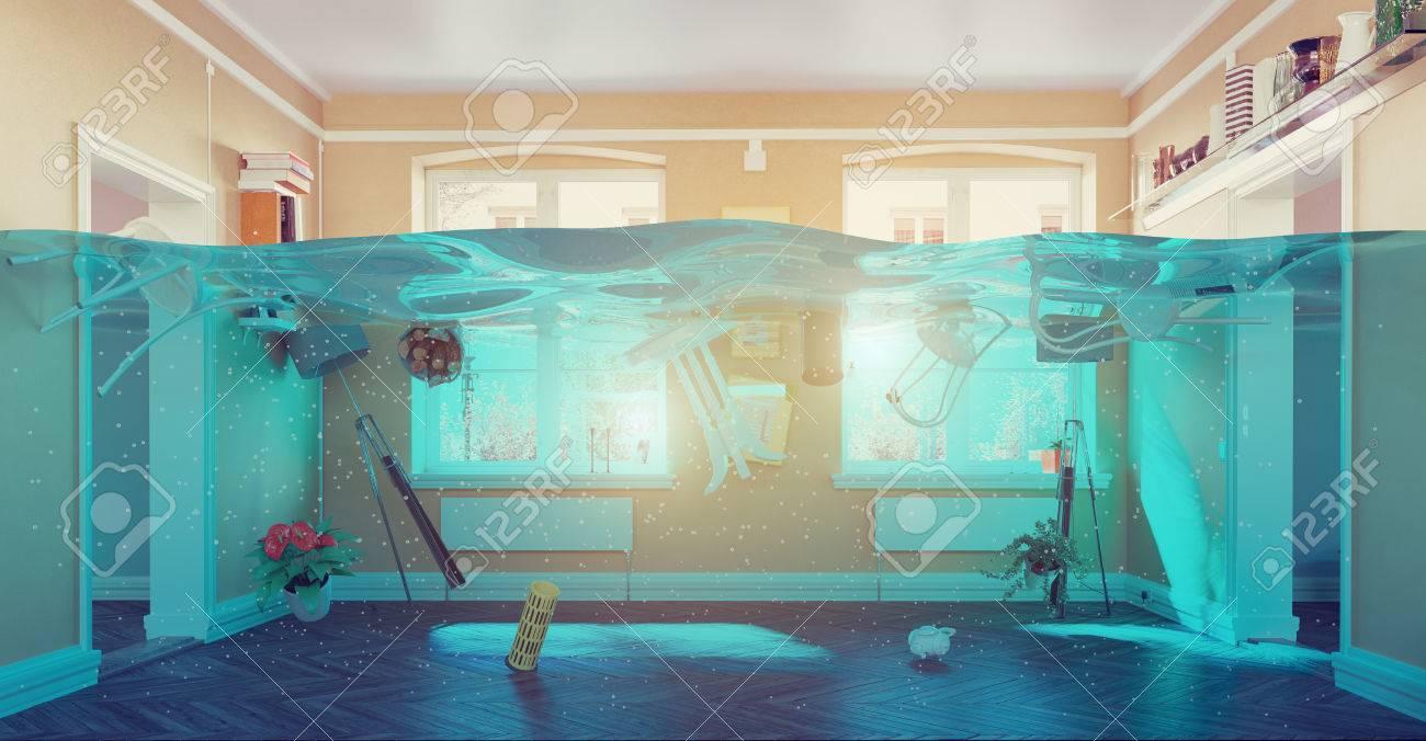 an underwater view in the flooding interior. 3d concept Standard-Bild - 51586301