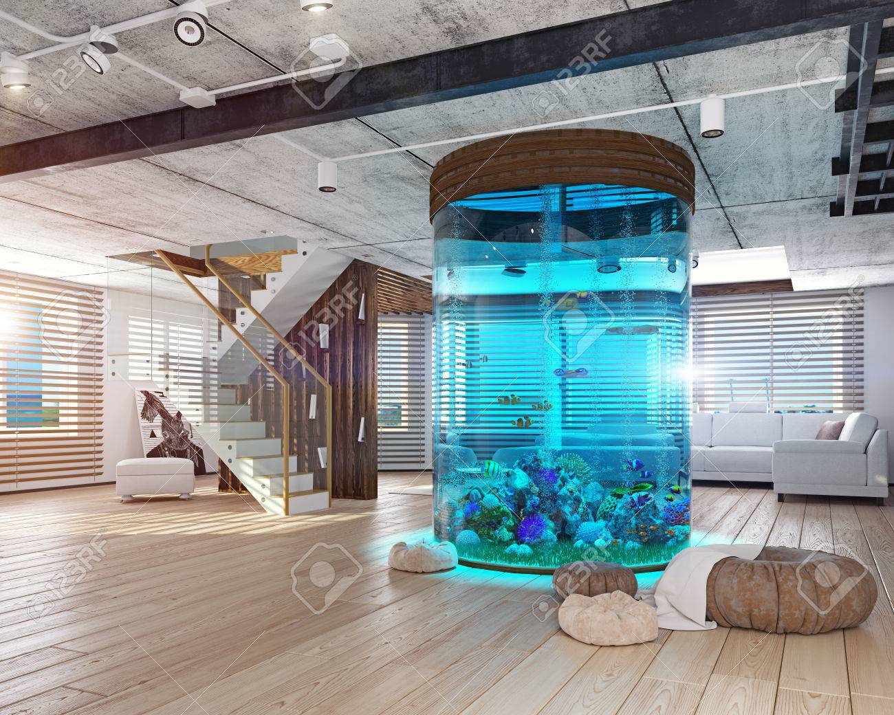 The modern loft interior with aquarium d concept stock photo