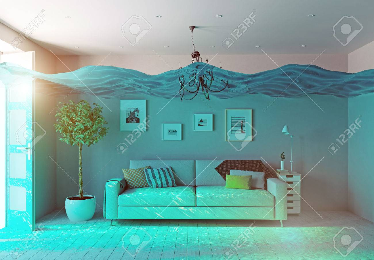 an underwater view in the flooding interior. 3d concept Standard-Bild - 51589413