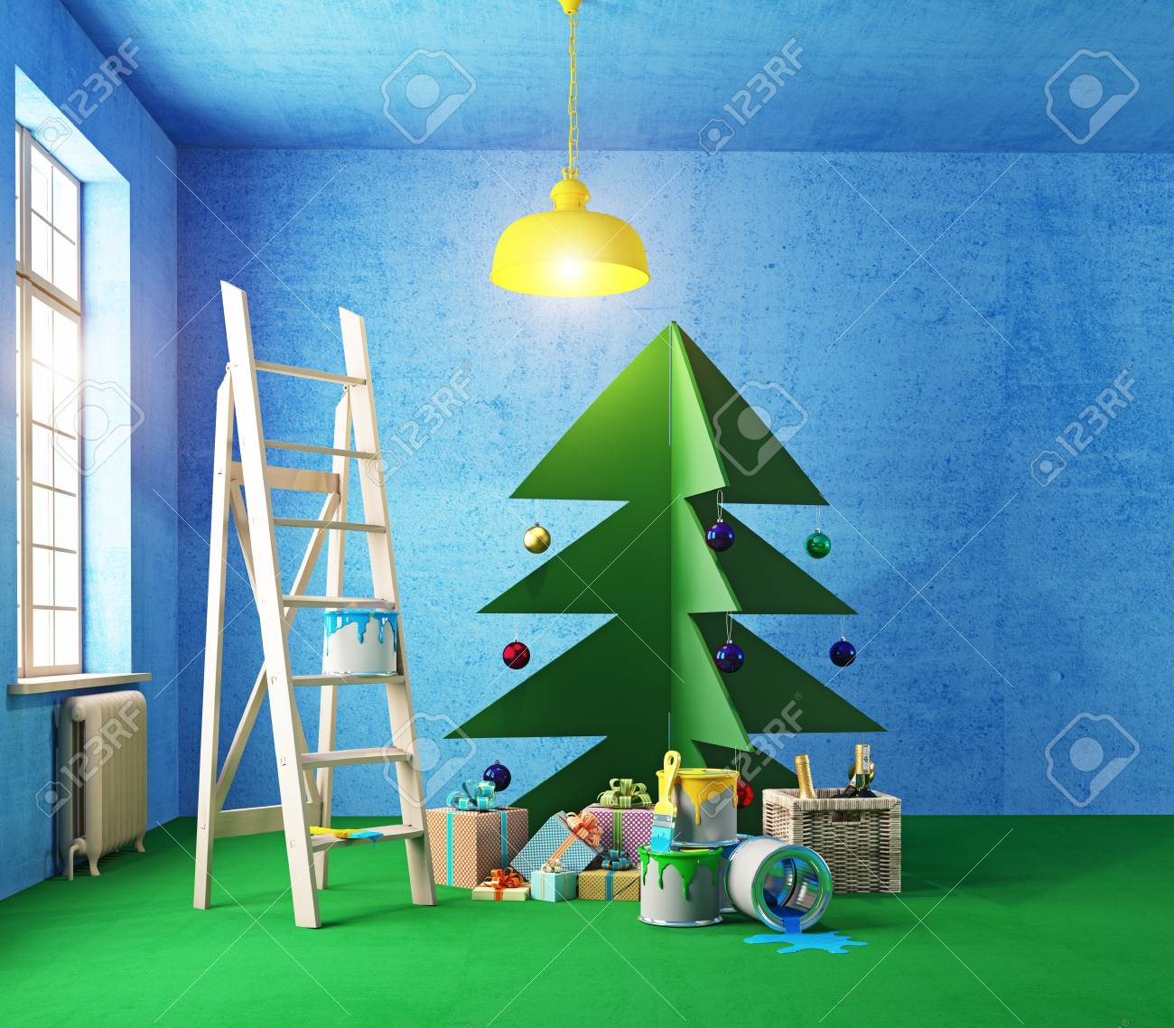 Plywood Christmas Tree Interior Nature Colors Room Painting Stock Photo Picture And Royalty Free Image Image 51589420