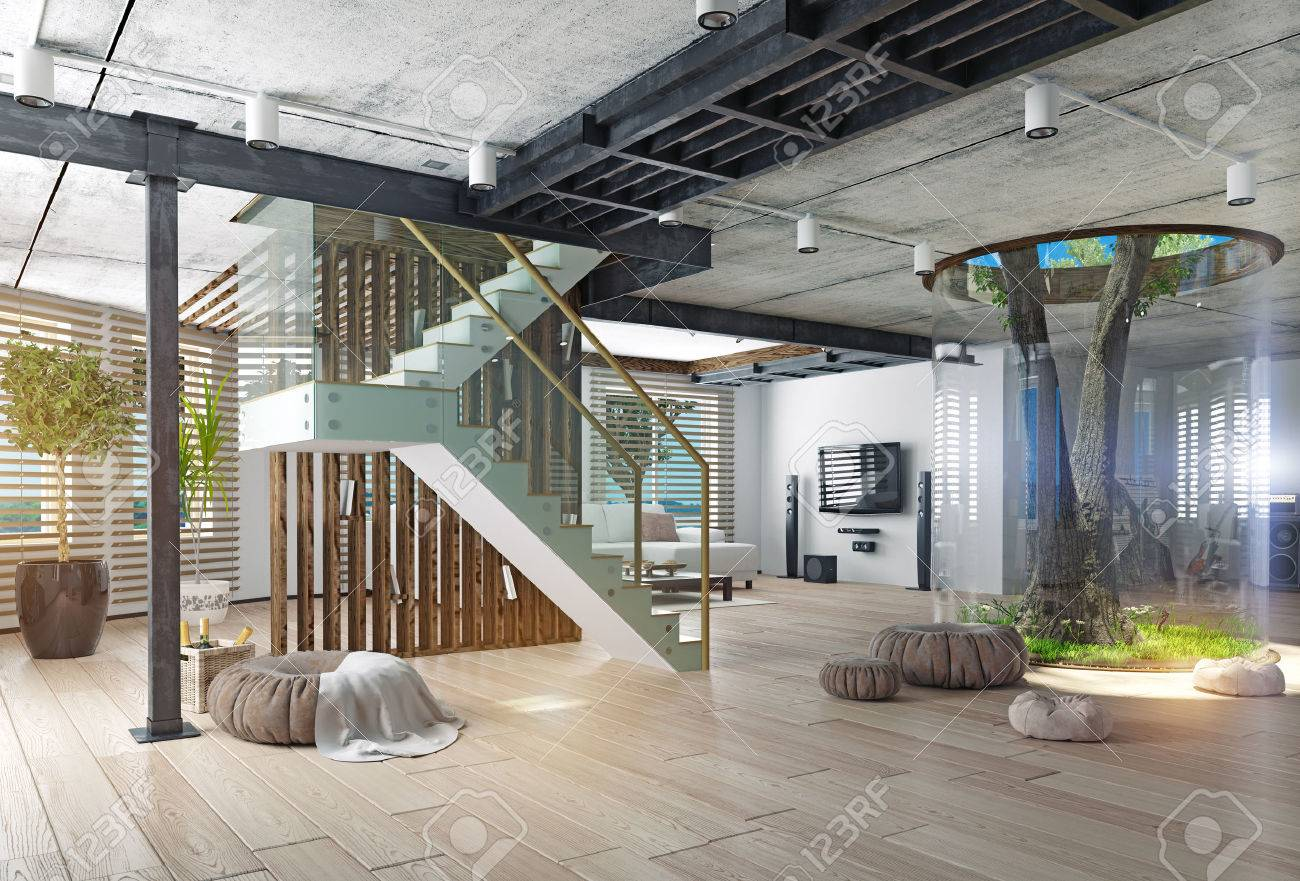 Lovely Eco Design Of The Modern Interior. Real Living Tree Indoor. 3d Concept  Stock Photo