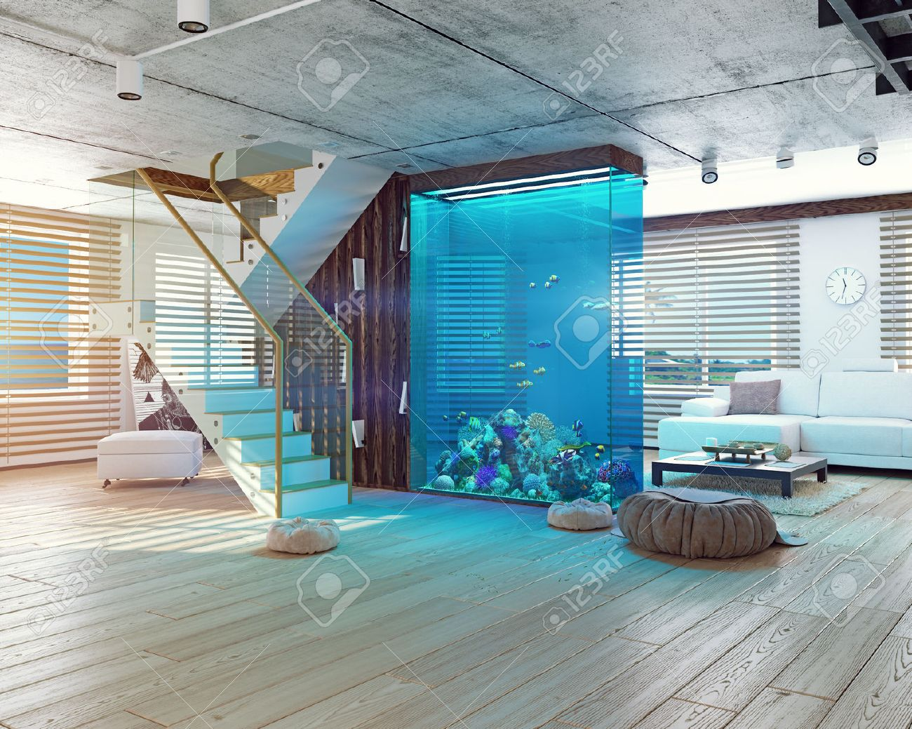 The modern loft interior with aquarium. 3d concept Standard-Bild - 52654388