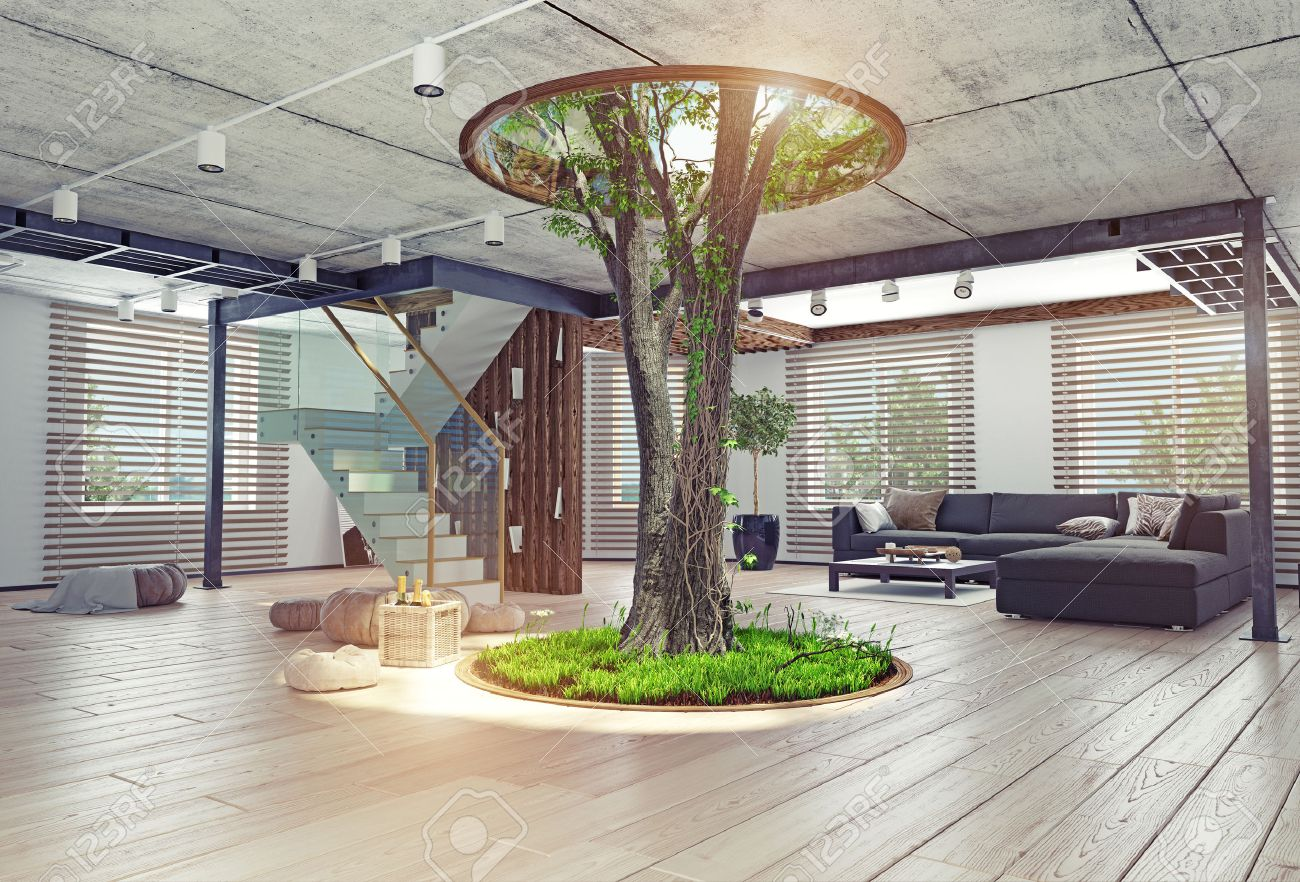 Beautiful Eco Design Of The Modern Interior. Real Living Tree Indoor. 3d Concept  Stock Photo