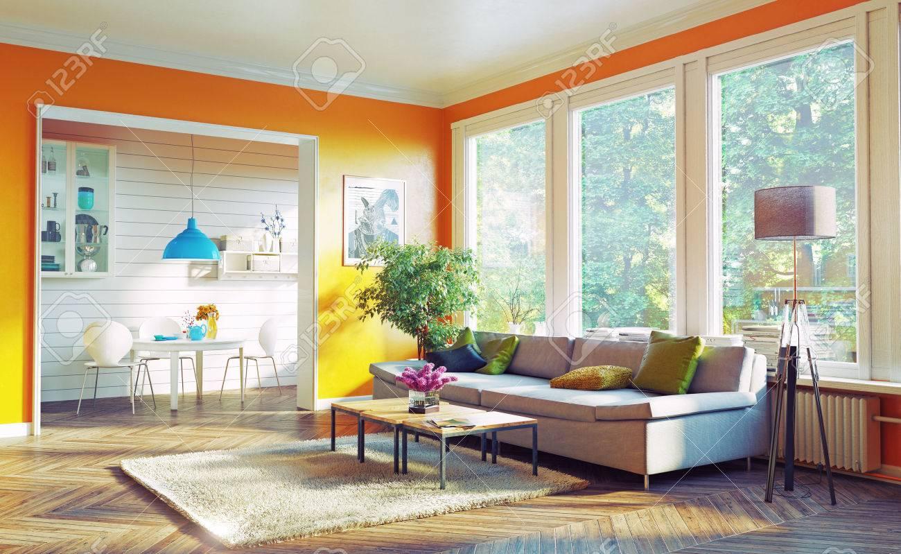 modern living room interior design. 3D rendering concept Standard-Bild - 55684517