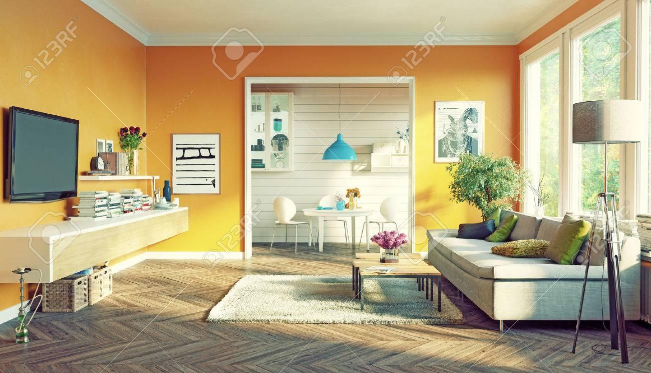 modern living room interior design. 3D rendering concept Standard-Bild - 55684527