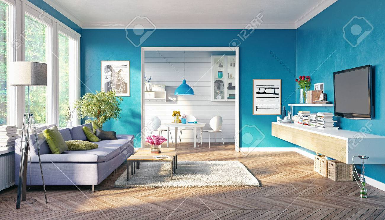 Modern Living Room Interior Design. 3D Rendering Concept Stock Photo ...