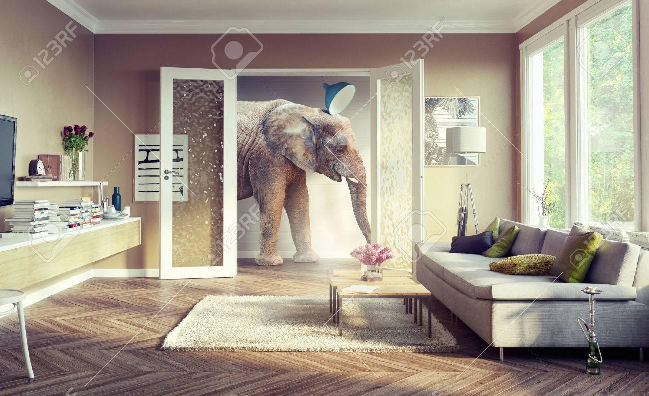 Big elephant, walking in the apartment rooms. 3d concept Standard-Bild - 56812226