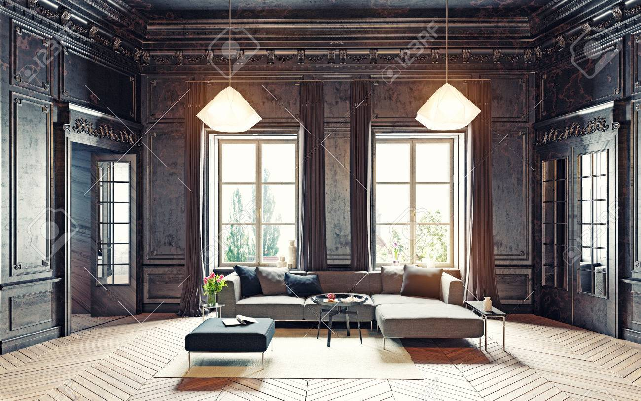modern style black living room apartment. 3d rendering Standard-Bild - 63195338