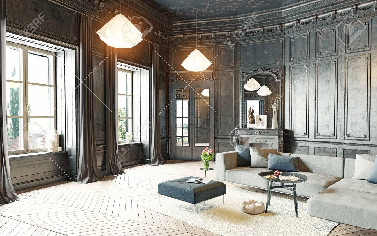 modern style black living room apartment. 3d rendering Standard-Bild - 64159176
