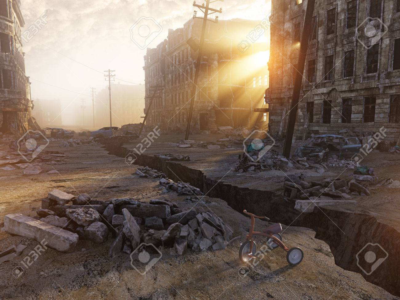 ruins of a city with a crack in the street. 3d illustration concept Standard-Bild - 64633950