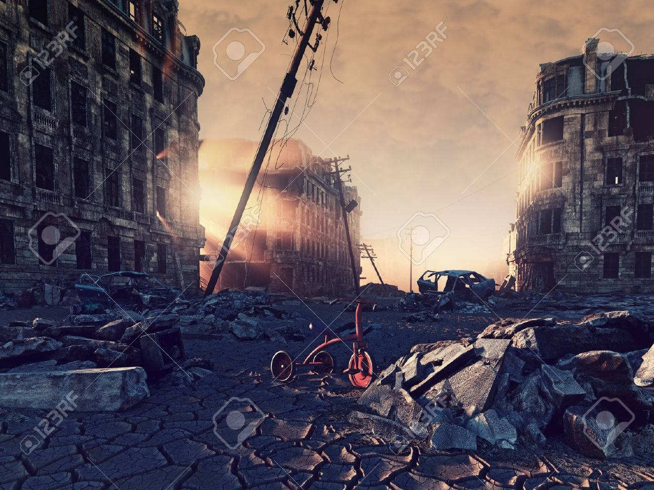 ruins of a city with a crack in the street. 3d illustration concept - 64633955