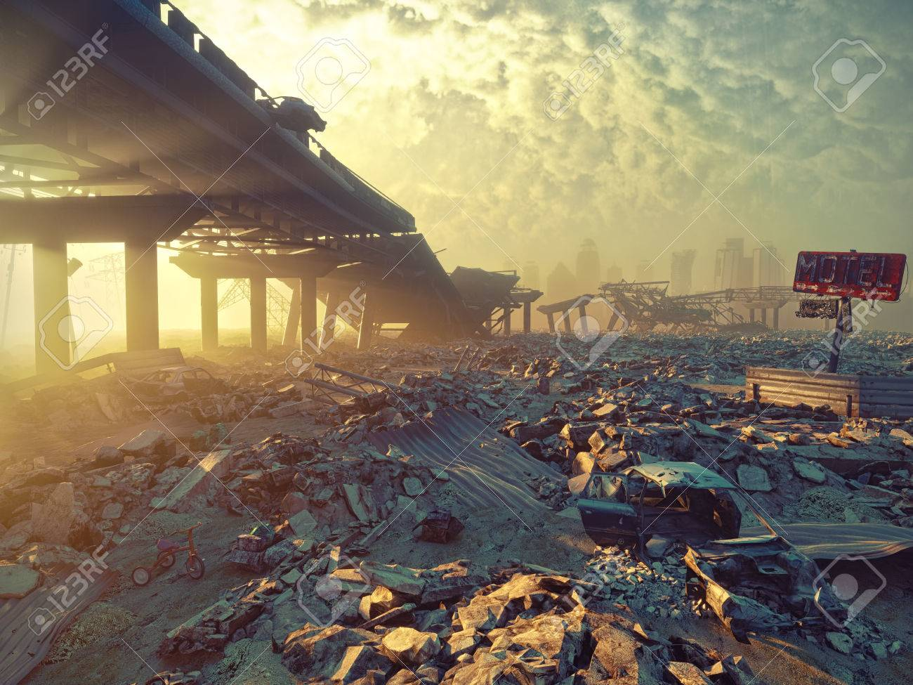 Ruins of a city. Apocalyptic landscape.3d illustration concept - 69216556