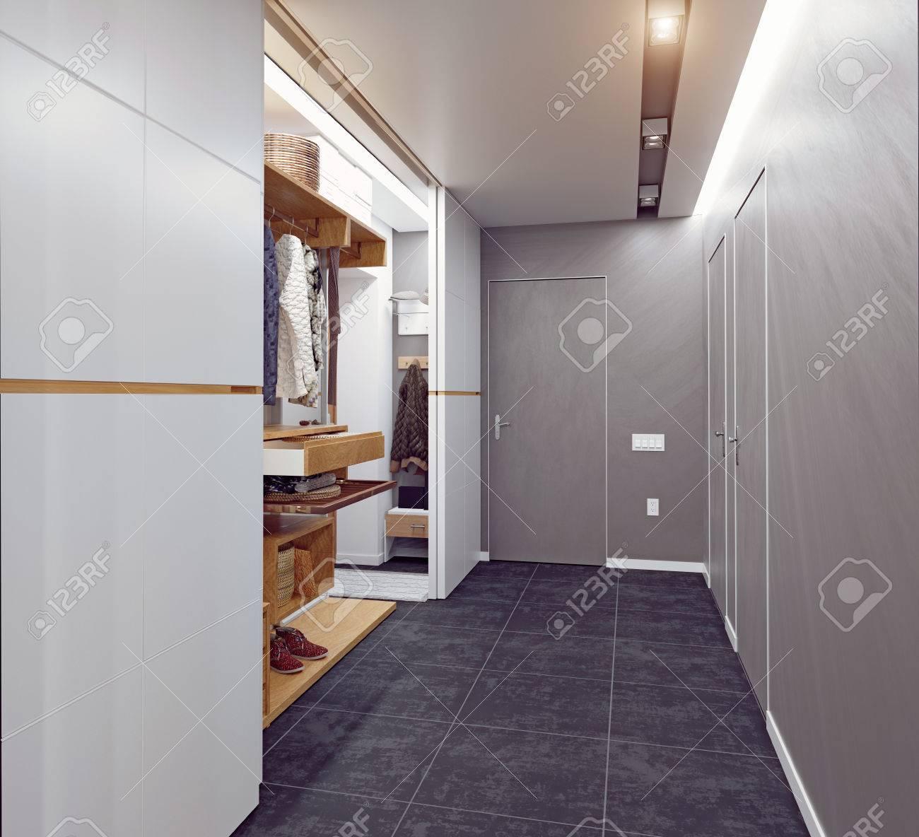 modern interior of the hallway. 3D rendering - 67143911