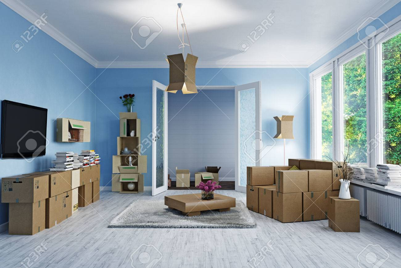 The room with card cardboard boxes instead of furniture. 3d concept - 81635408