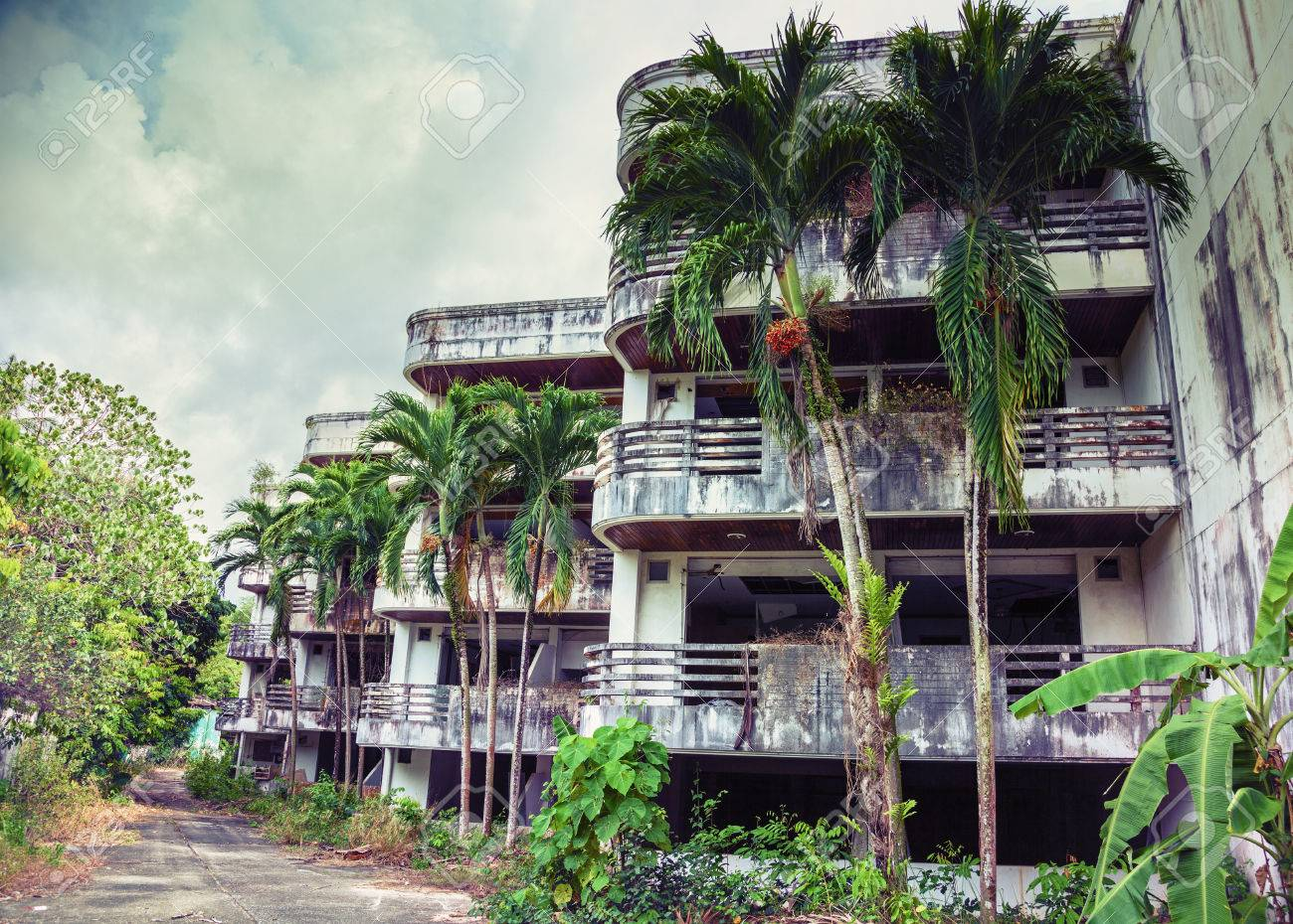 Abandoned hotel after the 2004 tsunami  Thailand  Phuket